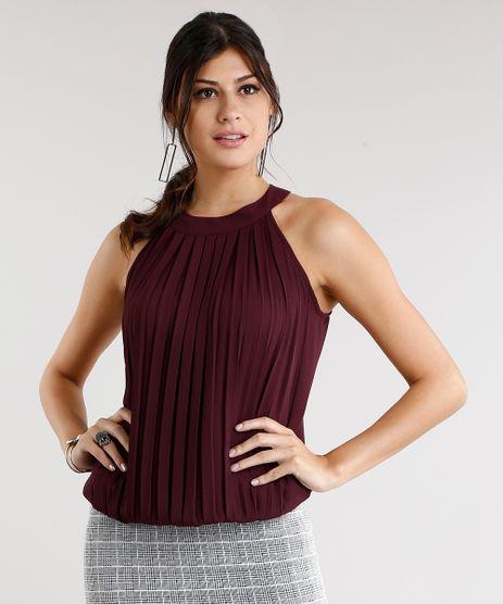 Regata-Feminina-Halter-Neck-com-Pregas-Decote-Redondo-Vinho-8932849-Vinho_1