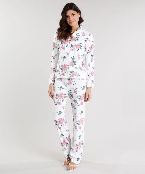 Pijama-Feminino-em-Fleece-Estampado-Floral-Manga-Longa--Branco-8875834-Branco_1