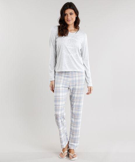 Pijama-Feminino-Xadrez-Manga-Longa-Decote-V-Cinza-Mescla-Claro-9119098-Cinza_Mescla_Claro_1