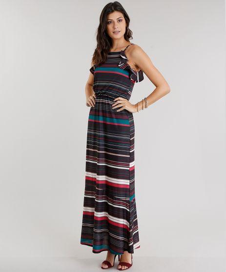 vestido-Feminino-Longo-Listrado-com-Babado-Alca-Preto-8968701-Preto_1