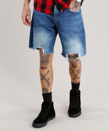 Bermuda-Jeans-Masculina-Reta-Destroyed-Azul-Medio-8979693-Azul_Medio_1