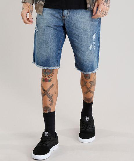 Bermuda-Jeans-Masculina-Reta-Destroyed-Azul-Medio-9073281-Azul_Medio_1