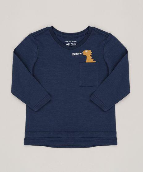 Camiseta-Infantil-Dinossauro-com-Bolso-Manga-Curta-Gola-Redonda-Azul-Marinho-9095178-Azul_Marinho_1