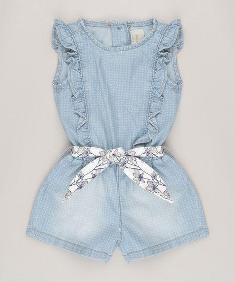 Macaquinho-Jeans-Infantil-Estampado-com-Babados-e-Faixa-Estampada-Floral-Azul-Claro-9062167-Azul_Claro_1