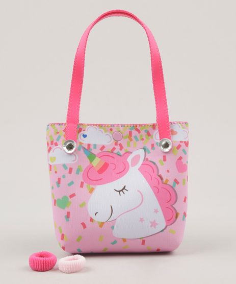 Bolsa-Infantil-Estampada--Unicornio----Elasticos-de-Cabelo-Rosa-Claro-9117156-Rosa_Claro_1