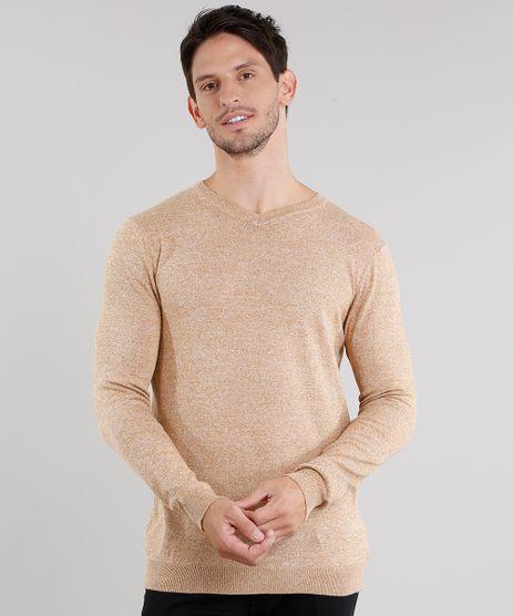 Sueter-Masculino-em-Trico-Mescla-Gola-V-Manga-Longa-Caramelo-8848759-Caramelo_1