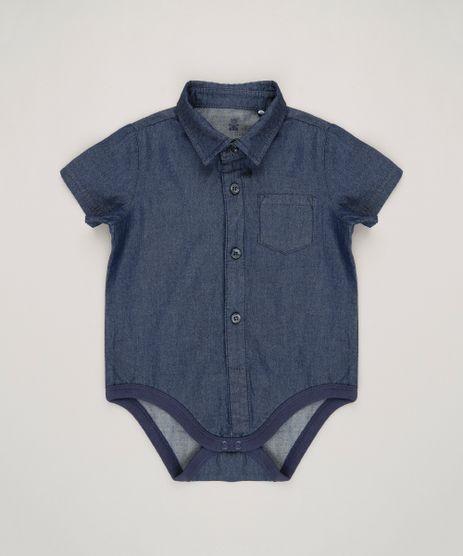 Body-Camisa-Jeans-Infantil-Manga-Curta-em-Algodao---Sustentavel-Azul-Escuro-8858987-Azul_Escuro_1