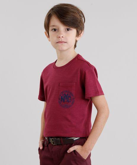 Camiseta-Infantil--NYC--com-Bolso-Manga-Curta-Gola-Redonda-Vinho-9038342-Vinho_1