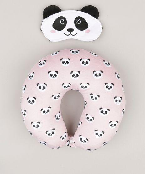 Kit--de-Apoio-de-Cabeca---Tapa-Olho-Estampado-de-Pandas-Rosa-Claro-9118266-Rosa_Claro_1