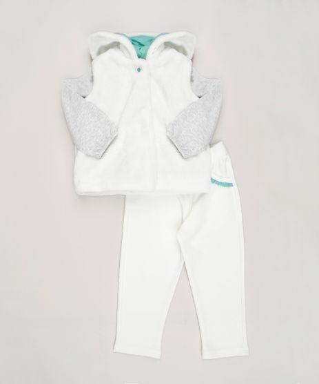 Conjunto-Infantil-de-Colete-de-Pelo-com-Capuz---Blusa-Manga-Longa-Cinza-Mescla---Calca-com-Renda-em-Algodao---Sustentavel-Off-White-8820640-Off_White_1
