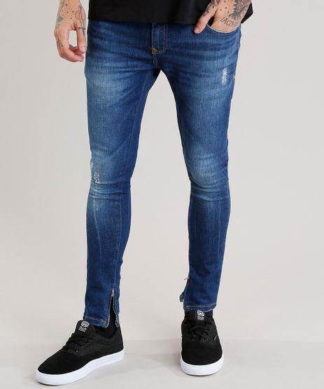 Calca-Jeans-Masculina-Super-Skinny-em-Algodao---Sustentavel-Azul-Escuro-8938387-Azul_Escuro_1