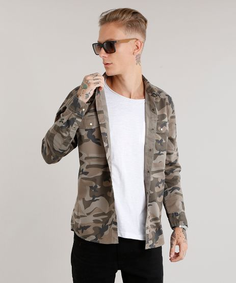 Camisa-Masculina-Estampada-Camuflada-Manga-Longa-Verde-Militar-8875704-Verde_Militar_1