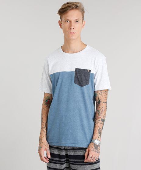 Camiseta-Masculina-Recorte-com-Bolso-Manga-Curta-Gola-Careca-Azul-8451632-Azul_1