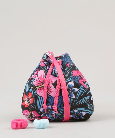 Bolsa-Infantil-Estampada-Floral-com-Elastico-de-Cabelo-Preta-9060663-Preto_1