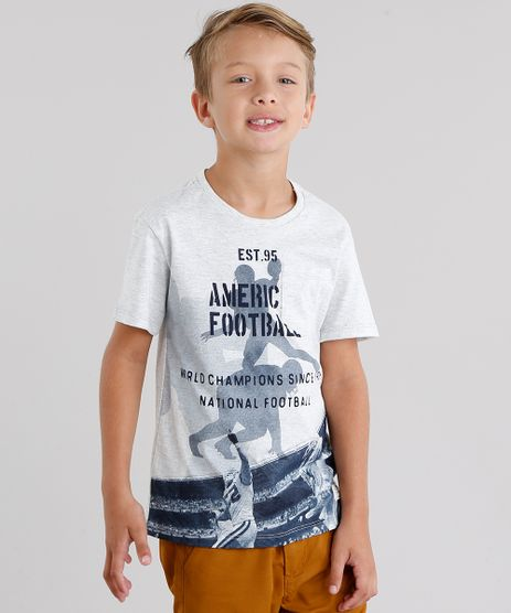 Camiseta-Infantil--Amarica-Football--com-Bolso-Manga-Curta-Gola-Redonda-Cinza-Mescla-9038315-Cinza_Mescla_1