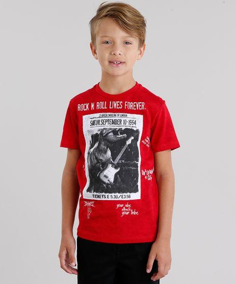 Camiseta-Infantil--Rock-n-Roll--Manga-Curta-Gola-Redonda-Vermelha-9048201-Vermelho_1