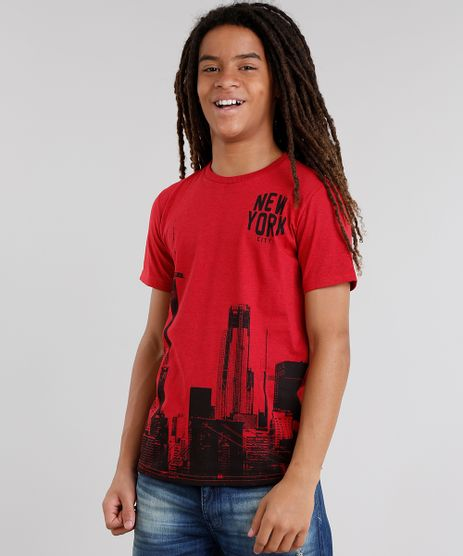 Camiseta-Infantil--New-York--Gola-Careca-Manga-Curta-Vermelha-9031384-Vermelho_1