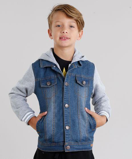 Jaqueta-Jeans-Infantil-com-Moletom-Sobreposicao-com-Capuz-Azul-Escuro-8865671-Azul_Escuro_1