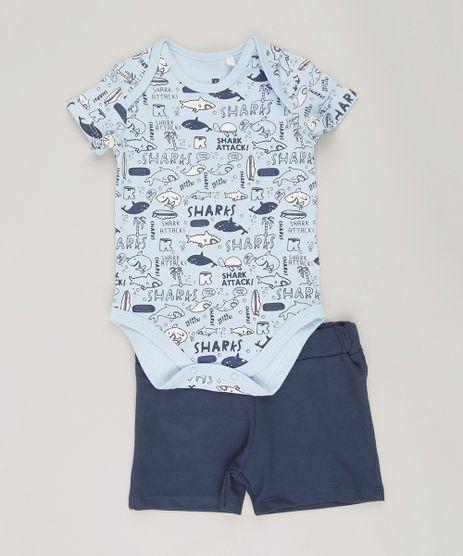 Conjunto-Infantil-de-Body-Estampado-de-Peixes-Manga-Curta-Azul-Claro---Short-em-Moletom-Azul-Marinho-9073696-Azul_Marinho_1