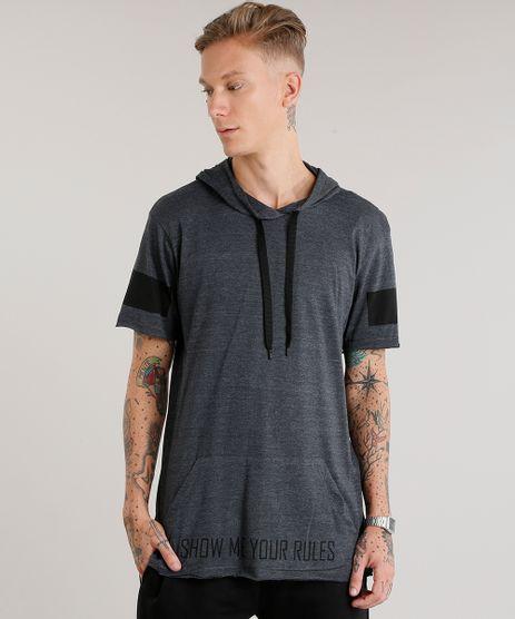 Camiseta-Masculina-Longa-com-Capuz-e-Bolso-Manga-Curta-Cinza-Mescla-Escuro-8438904-Cinza_Mescla_Escuro_1