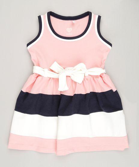 Vestido-Infantil-com-Laco-Sem-Manga-em-Algodao---Sustentavel-Rosa-9048221-Rosa_1