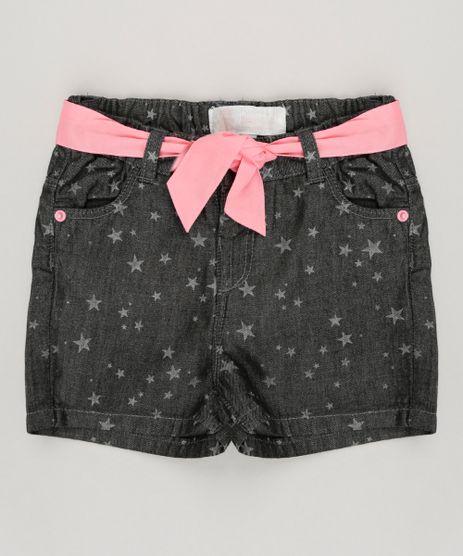 Short-Jeans-Infantil-Estampado-de-Estrelas-com-Faixa-em-Algodao---Sustentavel-Preto-8859361-Preto_1
