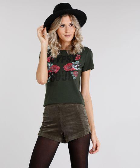 Blusa-Feminina--Gipsy-Soul--com-Estampa-Floral-Decote-Redondo-Manga-Curta-Verde-Militar-9028242-Verde_Militar_1