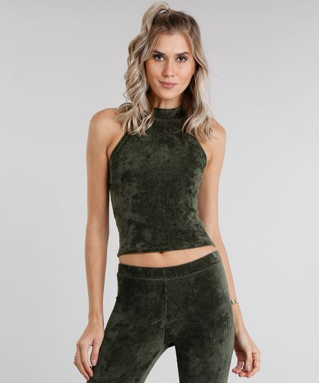 Regata-Feminina-Cropped-Halter-Neck-em-Veludo-Cotele-Verde-Militar-9046748-Verde_Militar_1