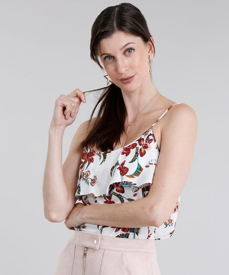 Regata-Feminina-Estampada-Floral-com-Babado-de-Alca-Branca-8938504-Branco_1
