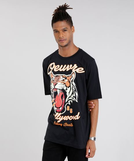 Camiseta-Masculina--Tigre--Manga-Curta-Gola-Redonda-Preta-9048376-Preto_1