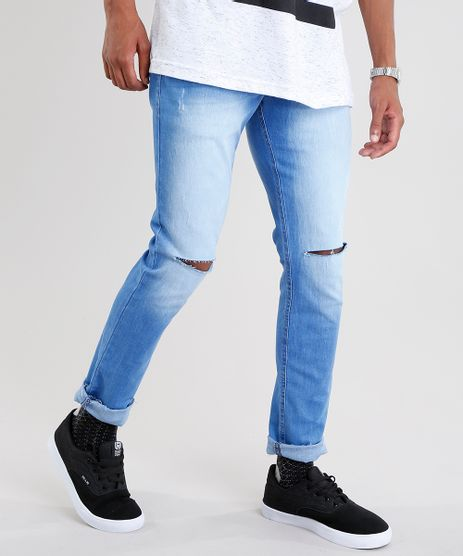 Calca-Jeans-Masculina-Skinny-Destroyed-em-Algodao---Sustentavel-Azul-Medio-9029568-Azul_Medio_1