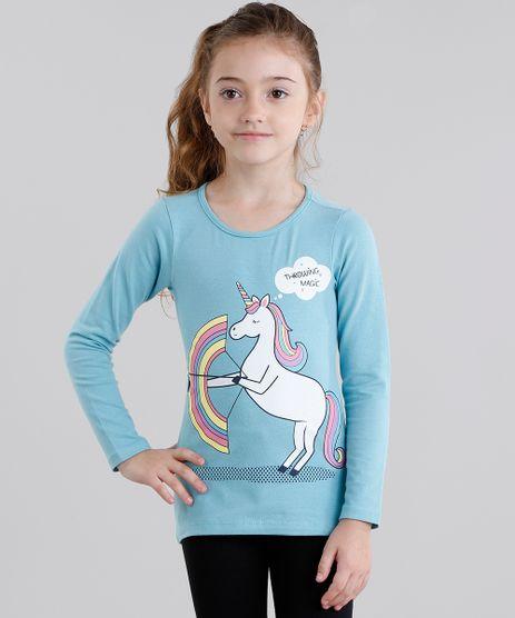Blusa-Infantil--Unicornio--Manga-Longa-Decote-Redondo-em-Algodao---Sustentavel-Azul-9107640-Azul_1