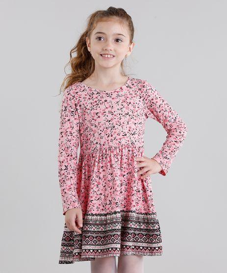 Vestido-Infantil-Estampado-Floral-Manga-Longa-Curto-Decote-Redondo-Rosa-9041156-Rosa_1