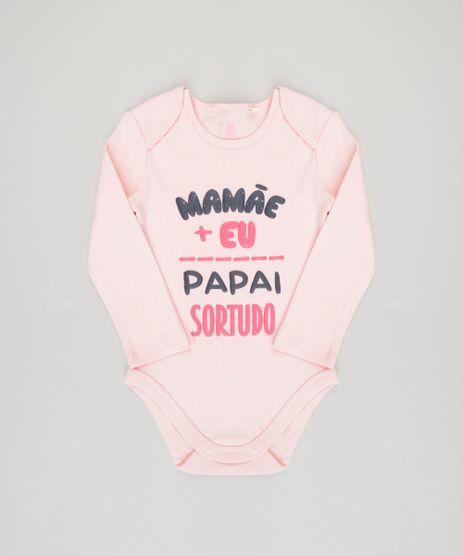 Body-Infantil--Mamae-e-eu-papai-sortudo--Manga-Longa-Decote-Redondo-em-Algodao---Sustentavel-Rosa-8824374-Rosa_1