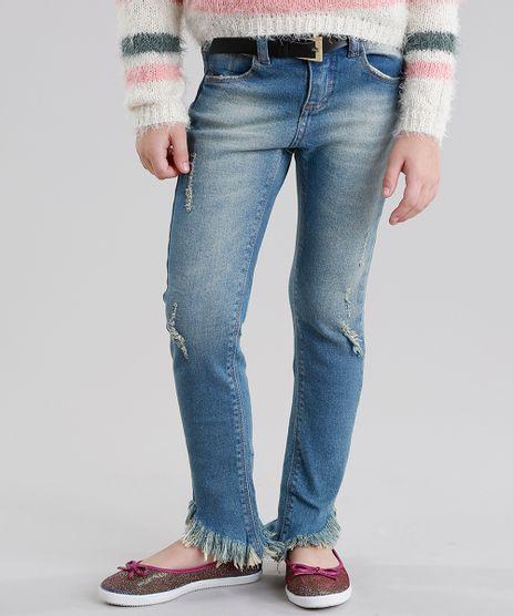 Calca-Jeans-Infantil-Destroyed-com-Cinto-Azul-Medio-9060564-Azul_Medio_1