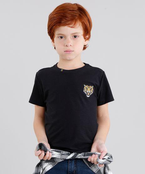 Camiseta-Infantil-Tigre-Manga-Curta-Gola-Careca-em-Algodao---Sustentavel-Preta-9042582-Preto_1
