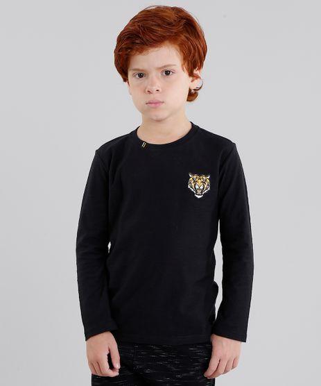 Camiseta-Infantil-Tigre-Manga-Longa-Gola-Careca-em-Algodao---Sustentavel-Preta-9033296-Preto_1