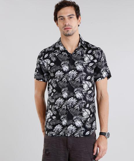 Camisa-Masculina-Estampada-de-Folhagens-Manga-Curta-Preta-9084502-Preto_1