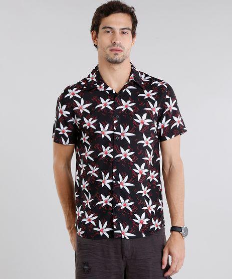 Camisa-Masculina-Estampada-Floral-Manga-Curta-Preta-9084509-Preto_1