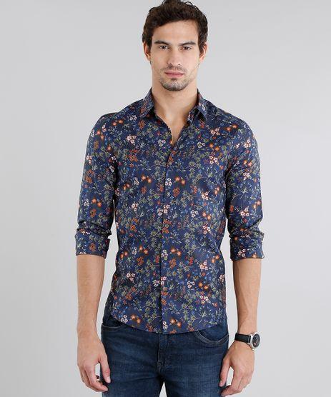 Camisa-Masculina-Slim-Estampada-Floral-Manga-Longa-Azul-Marinho-9108117-Azul_Marinho_1