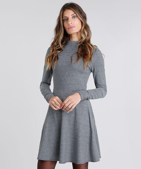Vestido-Feminino-Gola-Alta-Xadrez-Curto-com-Vazado-Manga-Longa-Preto-9130816-Preto_1