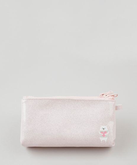 Necessaire-Feminina-Urso-Polar-com-Glitter-Rosa-Claro-9115145-Rosa_Claro_1