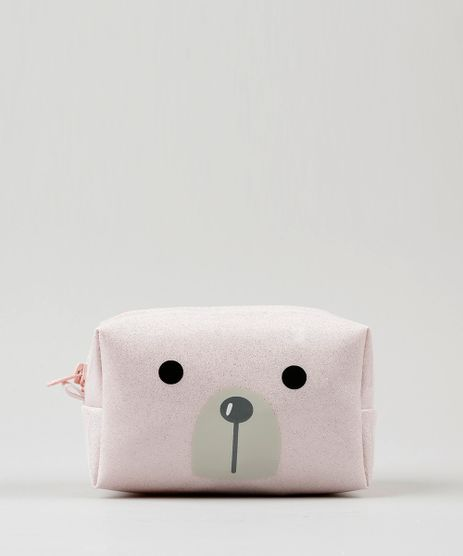 Necessaire-Feminina-Urso-Polar-com-Glitter-Rosa-Claro-9115139-Rosa_Claro_1