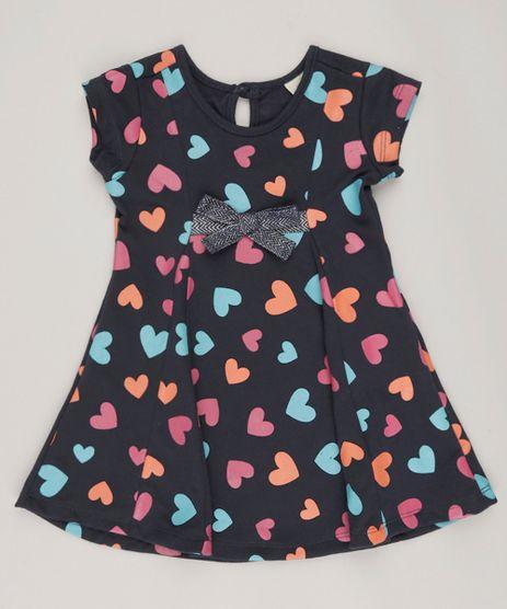 Vestido-Infantil-Estampado-de-Coracoes-Manga-curta-Azul-Marinho-9040781-Azul_Marinho_1