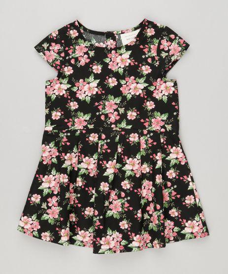 Vestido-Infantil-Estampado-Floral-Manga-Curta-com-Pregas-Preto-8877277-Preto_1
