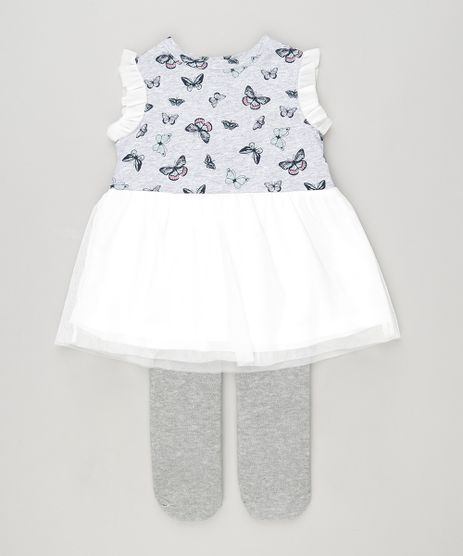 Vestido-Infantil--Estampado-de-Borboletas-com-Tule-e-Babado-Sem-Manga---Meia-Calca--Cinza-Mescla-8820641-Cinza_Mescla_1