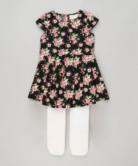 Vestido-Infantil-Estampado-Floral-Manga-Curta-com-Pregas---Meia-Calca--Preto-8877271-Preto_1