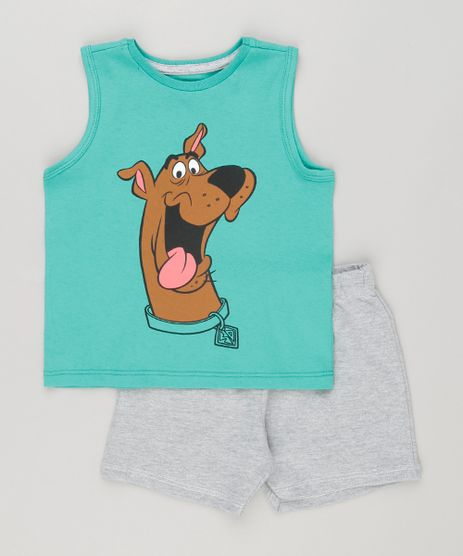 Conjunto-Infantil-de-Regata-Scooby-Doo-Verde---Bermuda-em-Moletom-Cinza-Mescla-9116918-Cinza_Mescla_1
