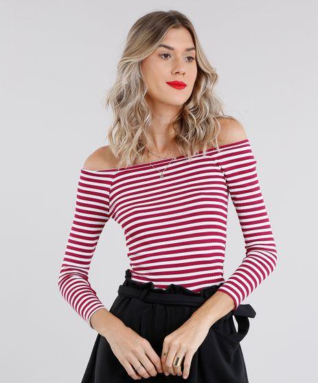 Blusa-Feminina-Basica-Listrada-com-Decote-Ombro-a-Ombro-Manga-Longa-Vinho-9057818-Vinho_1