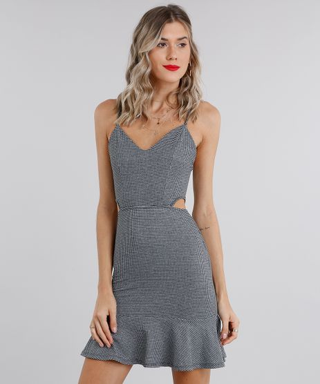 Vestido-Feminino-Xadrez-com-Vazados-Curto-Alca--Preto-9131417-Preto_1
